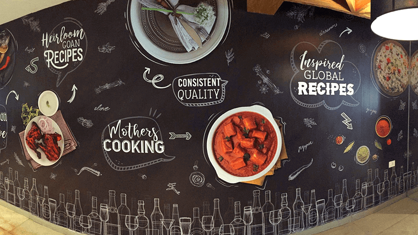Environmental Graphics for Peep Kitchen Goa